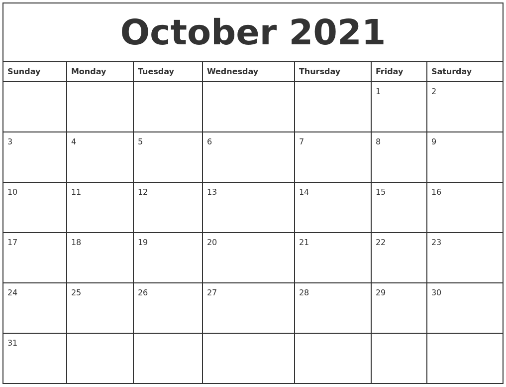 October 2021 Printable Monthly Calendar