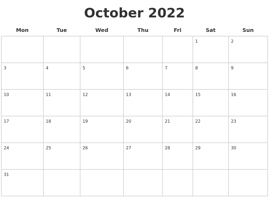 October 2022 Blank Calendar Pages