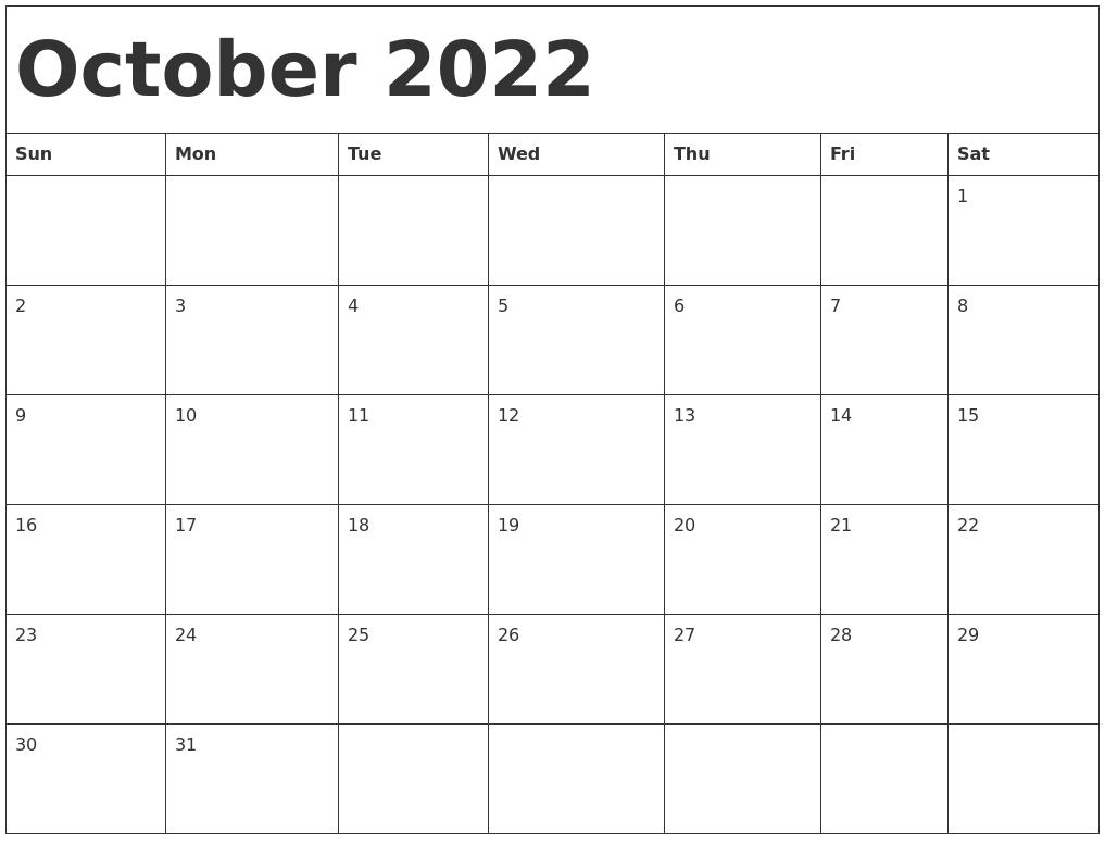 Calendar Template October 2022.October 2022 Calendar Template