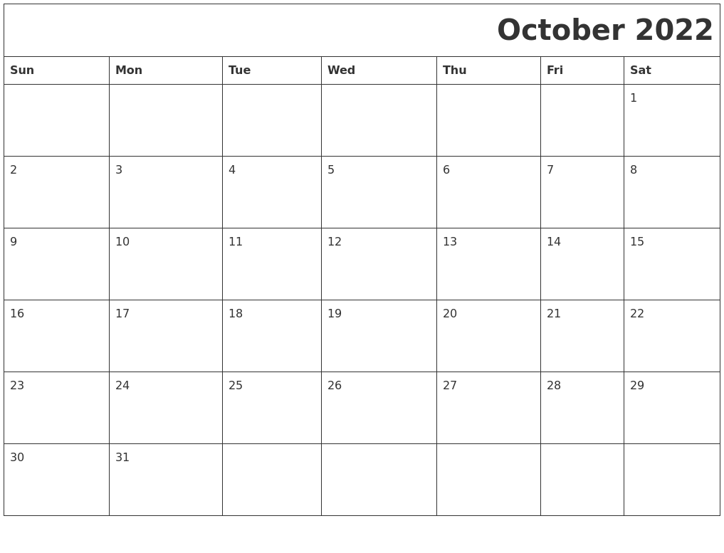 October 2022 Download Calendar