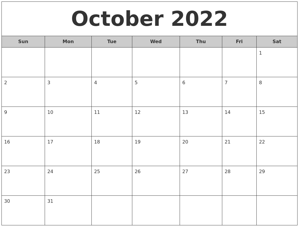 October 2022 Free Monthly Calendar