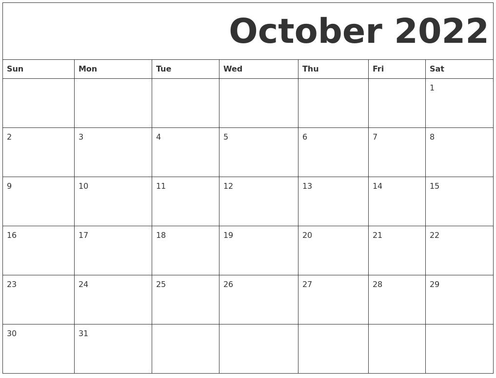Free Printable Calendar October 2022.October 2022 Free Printable Calendar