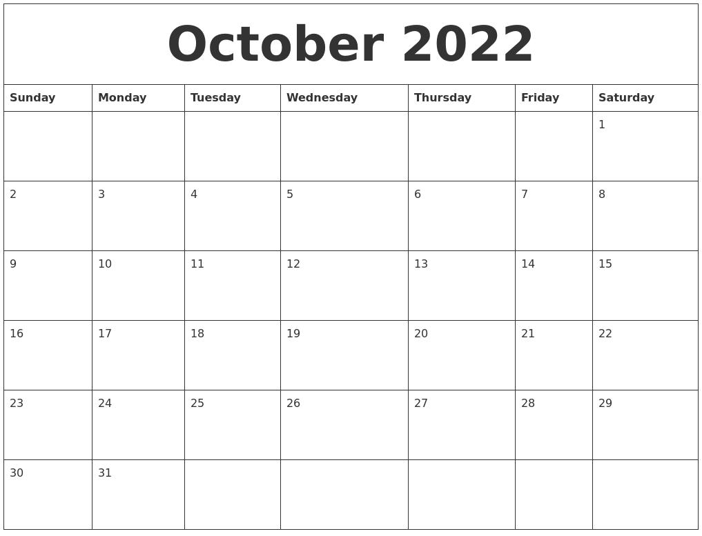 Monthly Calendar October 2022.October 2022 Free Printable Monthly Calendar