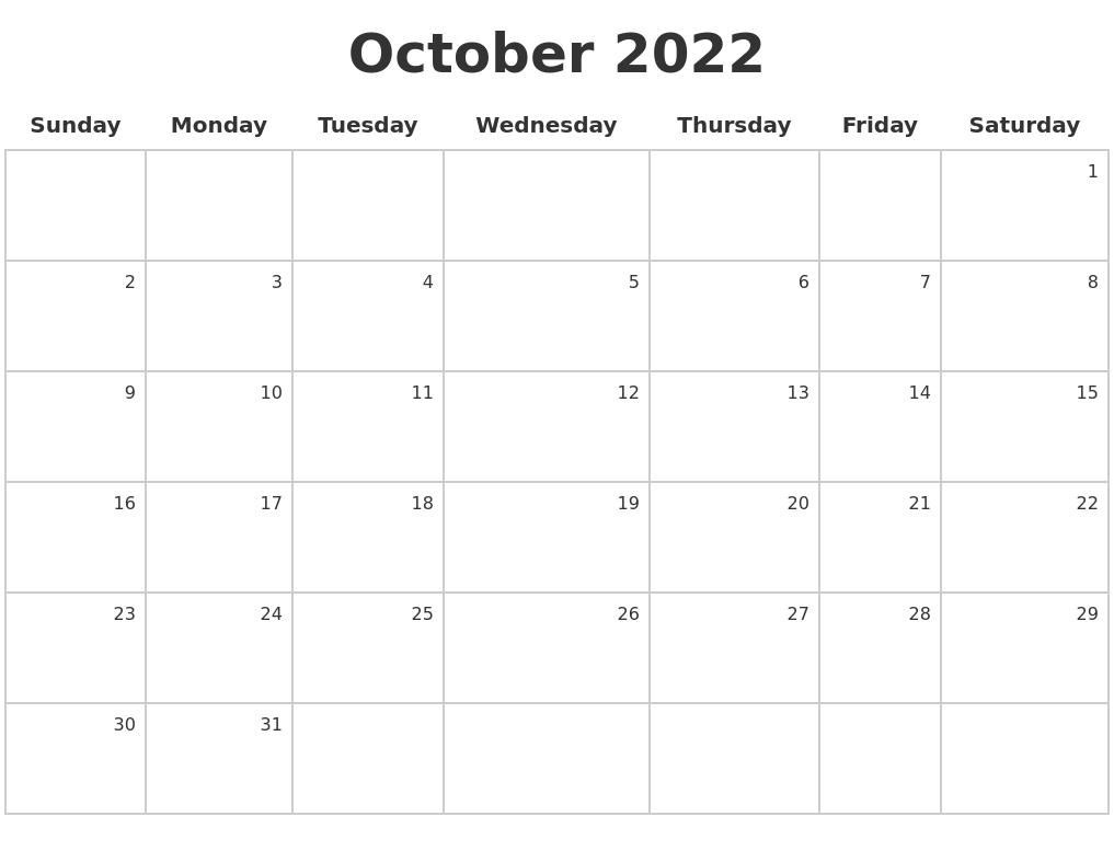 Oct 2022 Calendar.October 2022 Make A Calendar