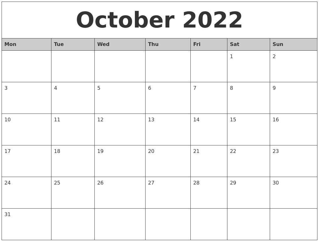 October 2022 Monthly Calendar Printable