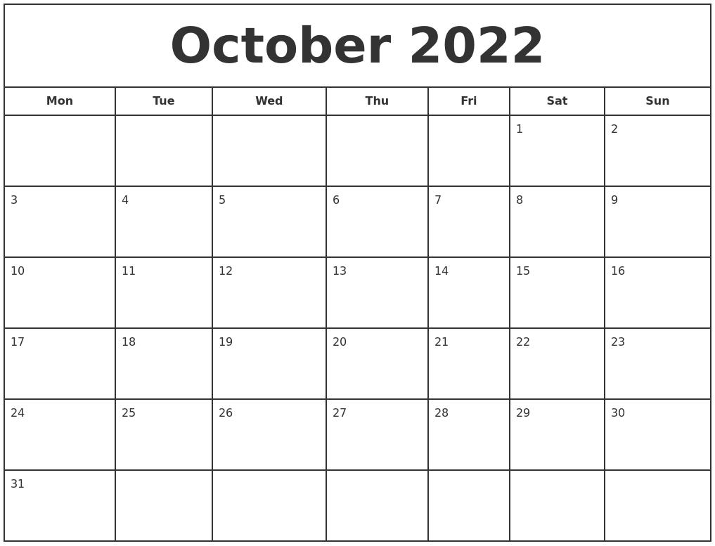 Oct 2022 Calendar Printable.October 2022 Print Free Calendar