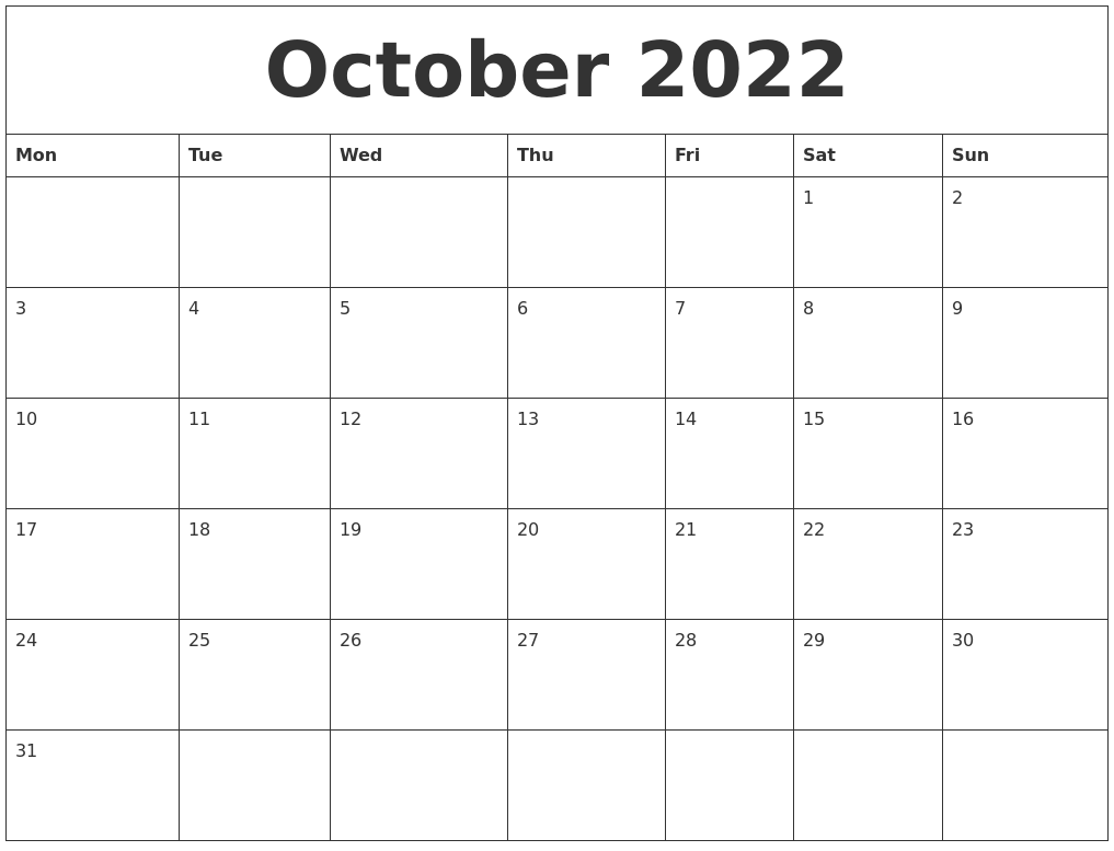 Printable Monthly Calendar October 2022.October 2022 Printable Calendar Free