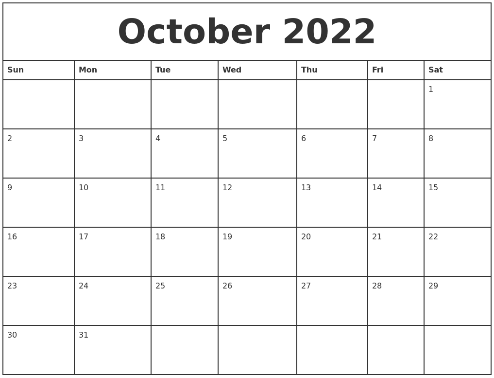 October 2022 Printable Monthly Calendar