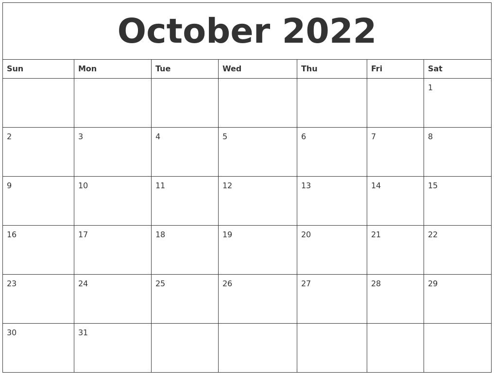 Printable October 2022 Calendar Word.October 2022 Word Calendar