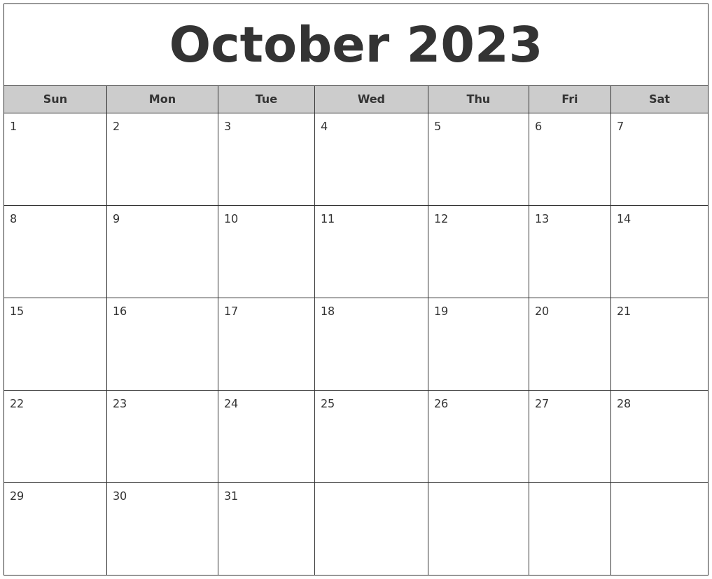 October 2023 Free Monthly Calendar