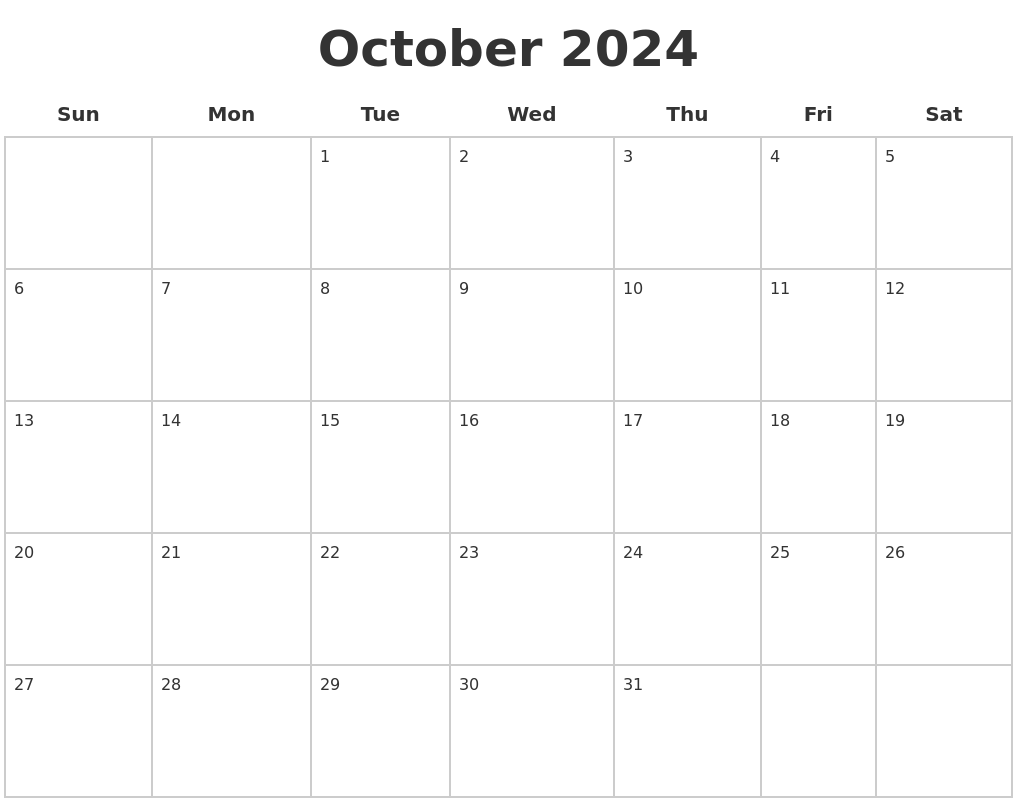 October 2024 Blank Calendar Pages