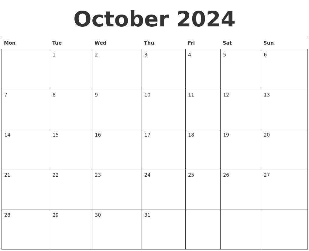 October 2024 Calendar Printable