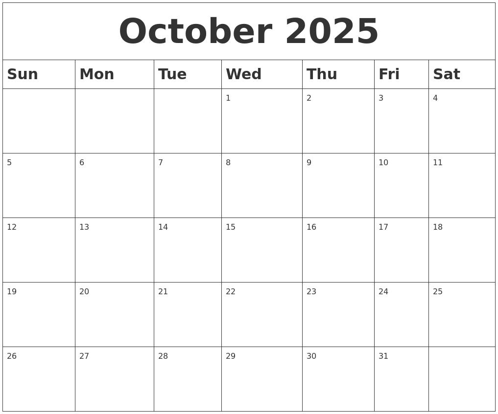 October 2025 Blank Calendar