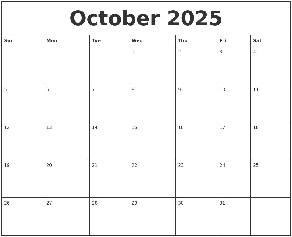 October 2025 Calendar Templates Free