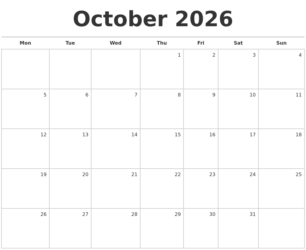 October 2026 Blank Monthly Calendar