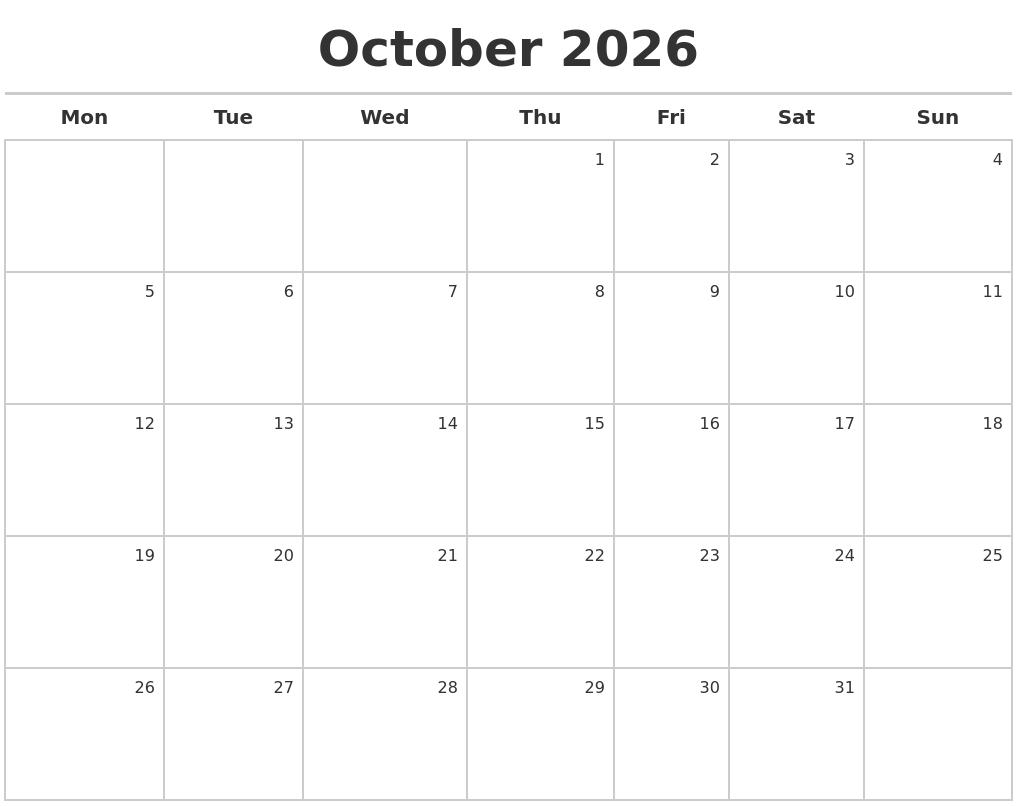 October 2026 Calendar Maker PDF's