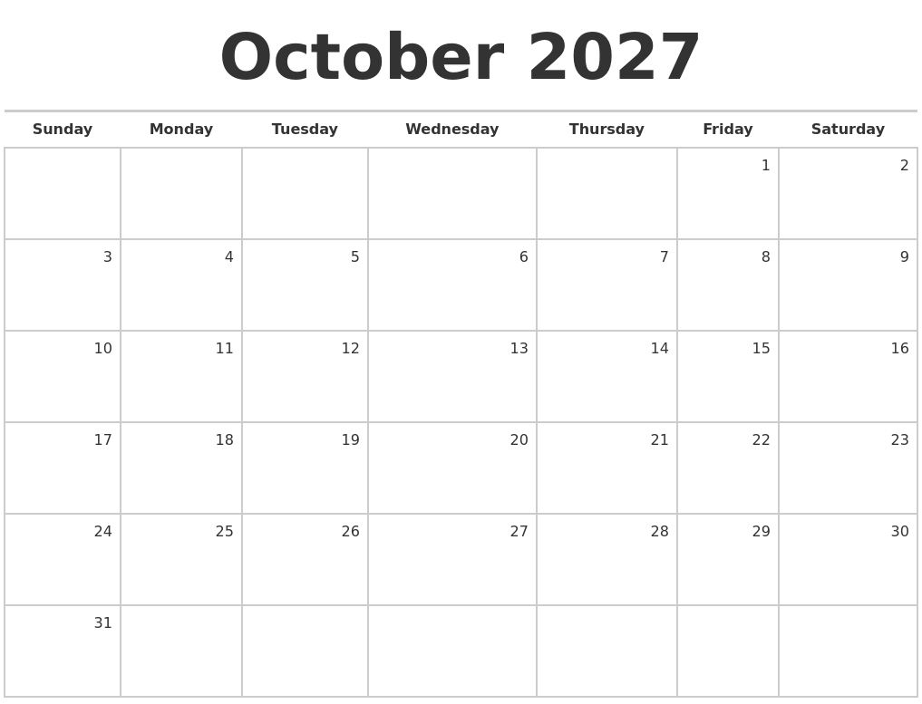 October 2027 Blank Monthly Calendar