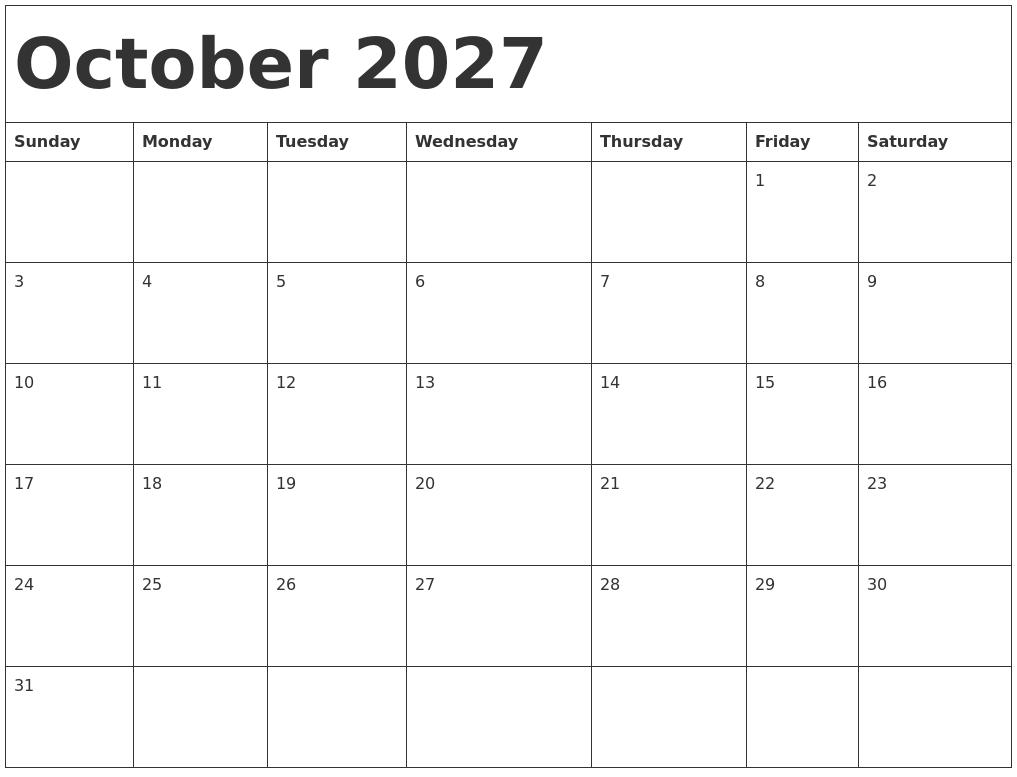 October 2027 Calendar Template