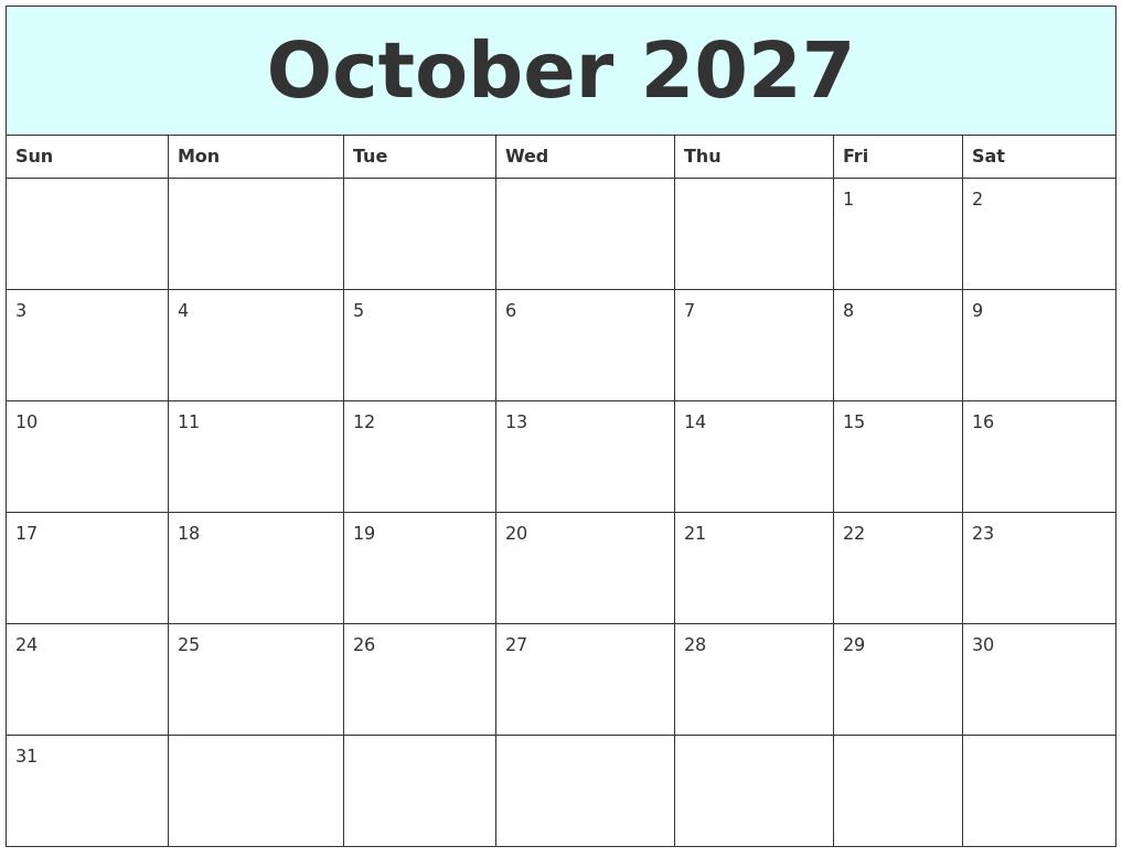 October 2027 Free Calendar