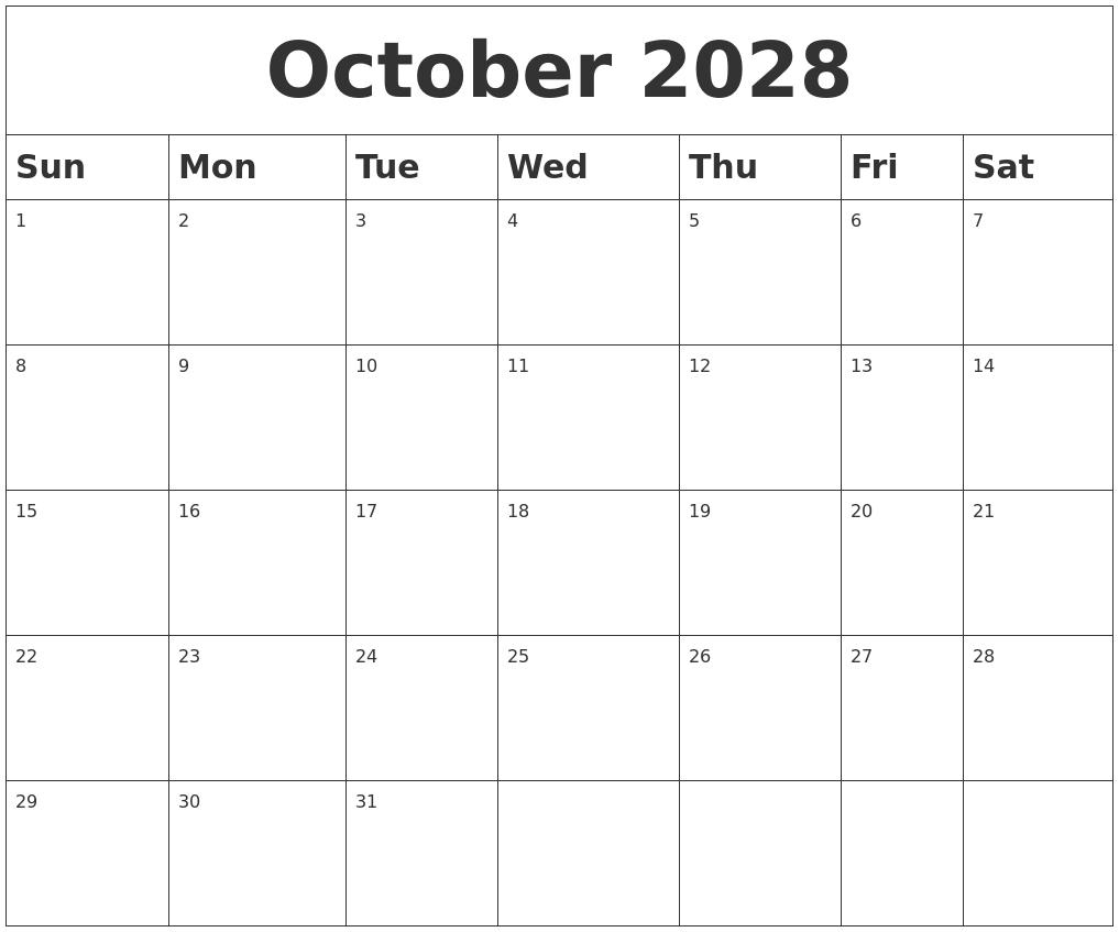 August 2028 Calendar Template