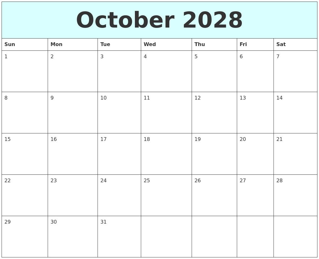 March 2028 Calendar
