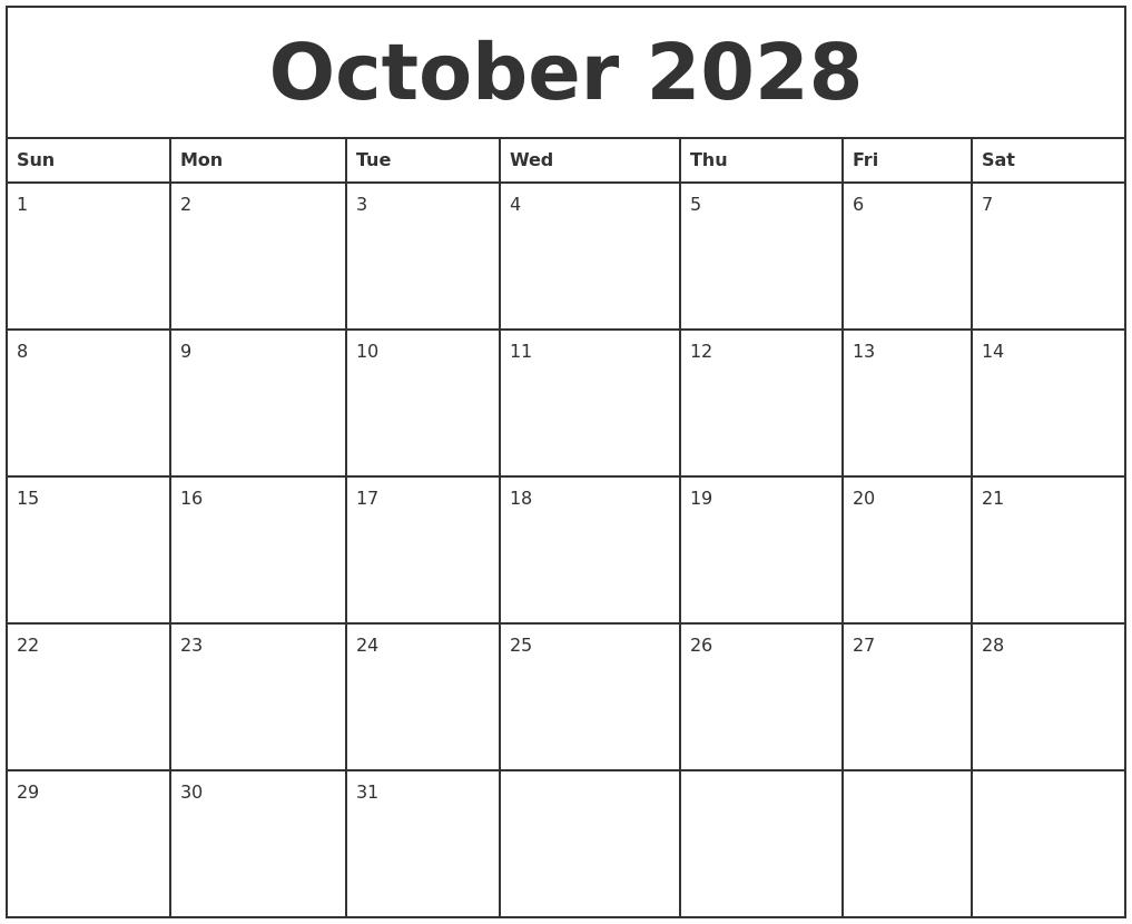 August 2028 Calendar Printable