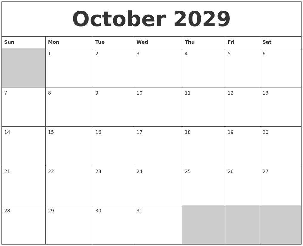 Blank Calendar 2018 October
