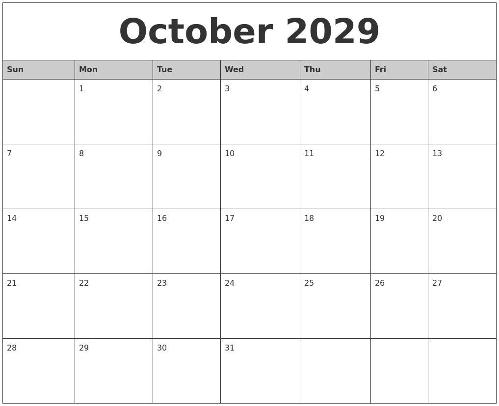 August 2029 Blank Printable Calendar