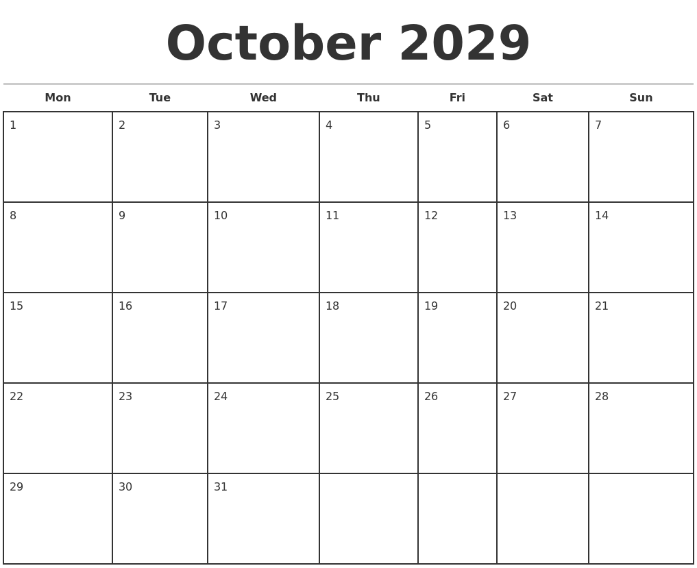 October 2029 Monthly Calendar Template