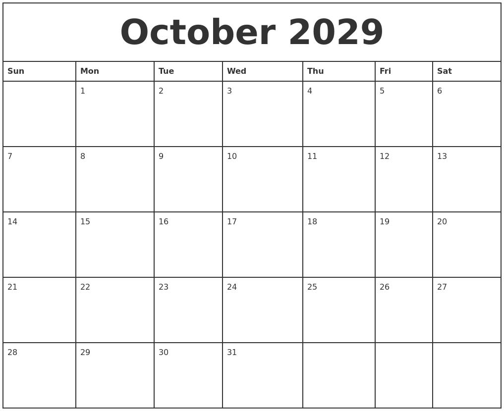 July 2029 Blank Calendar Template