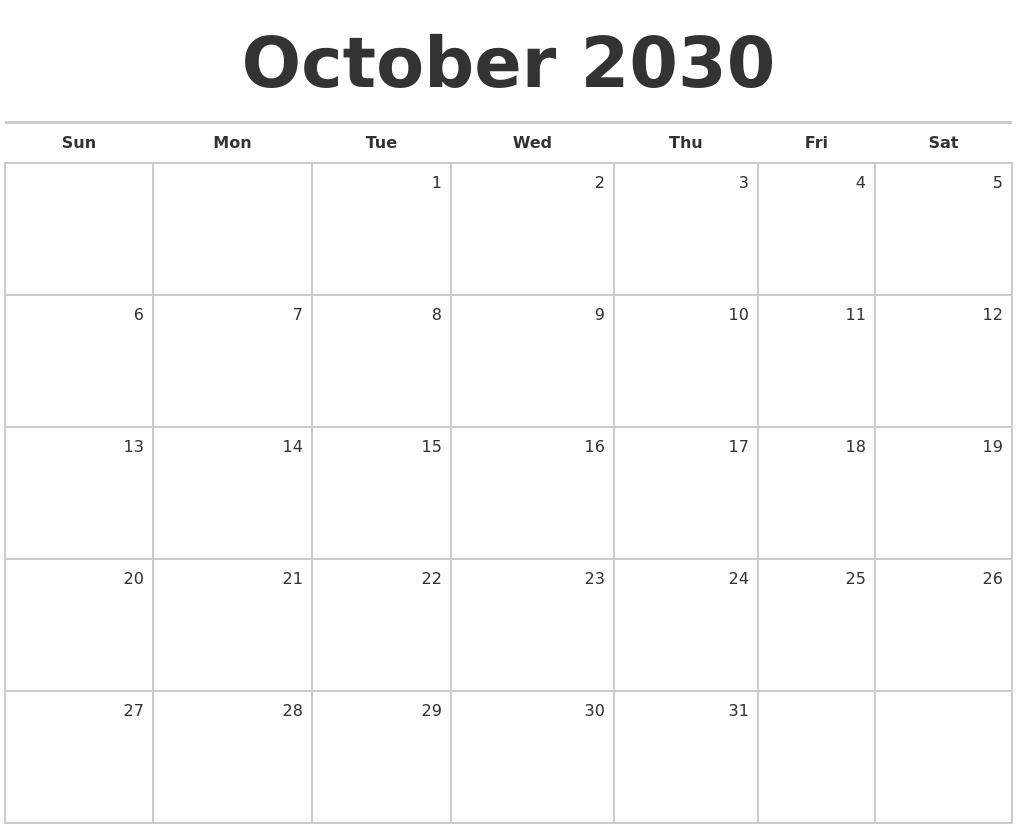 Blank Generic Calendar : October blank monthly calendar