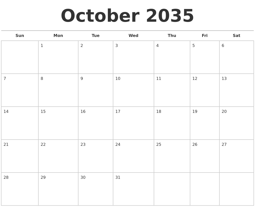 November 2035 Download Calendar
