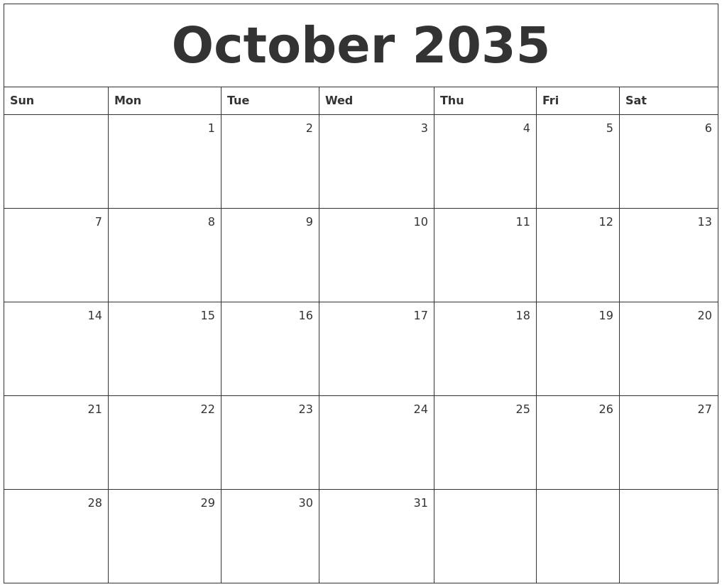 october calendar template 2017