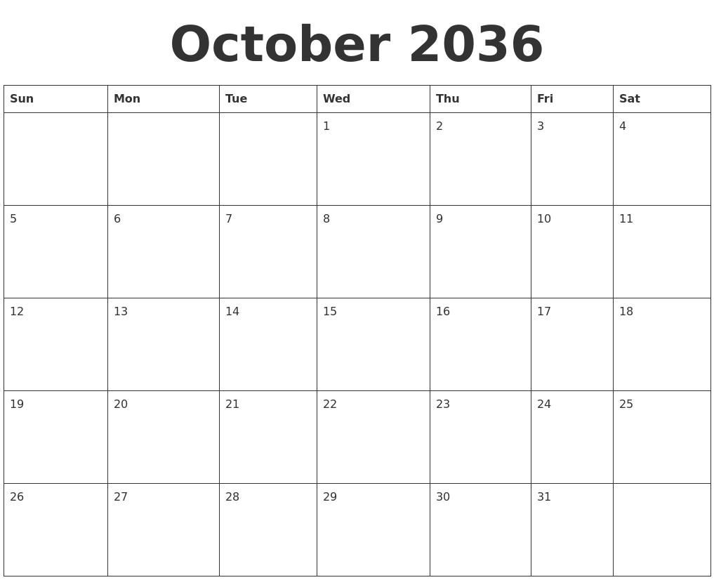 October 2036 Blank Calendar Template