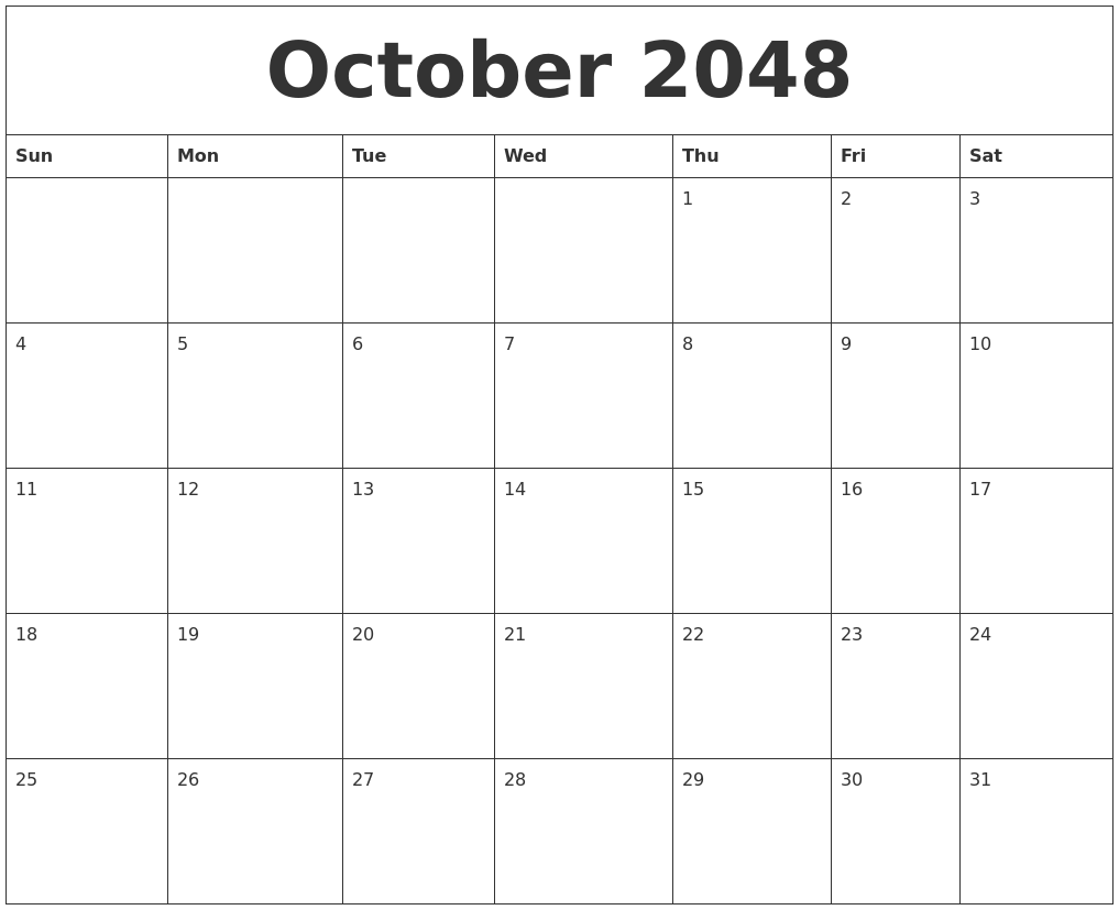 picture relating to Free Printable October Calendar called Oct 2048 Calendar Cost-free Printable