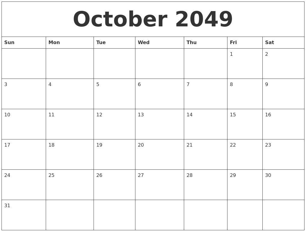 October 2049 Printable Daily Calendar