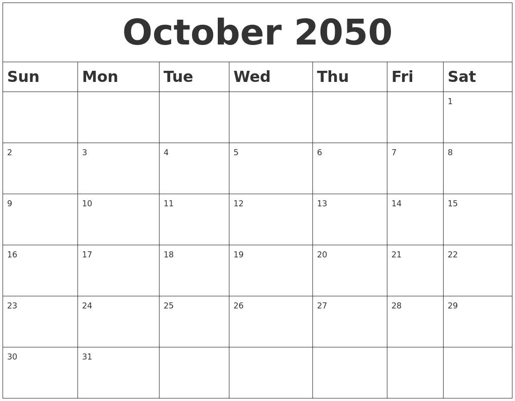 June 2050 Calendar