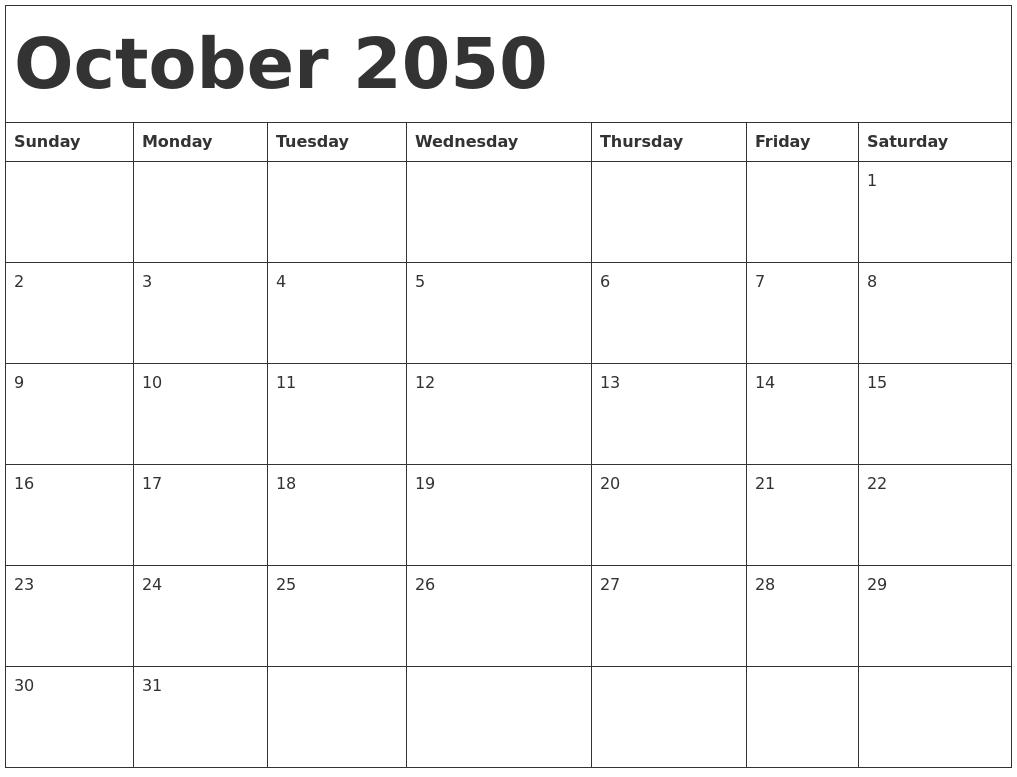 October 2050 Calendar Template