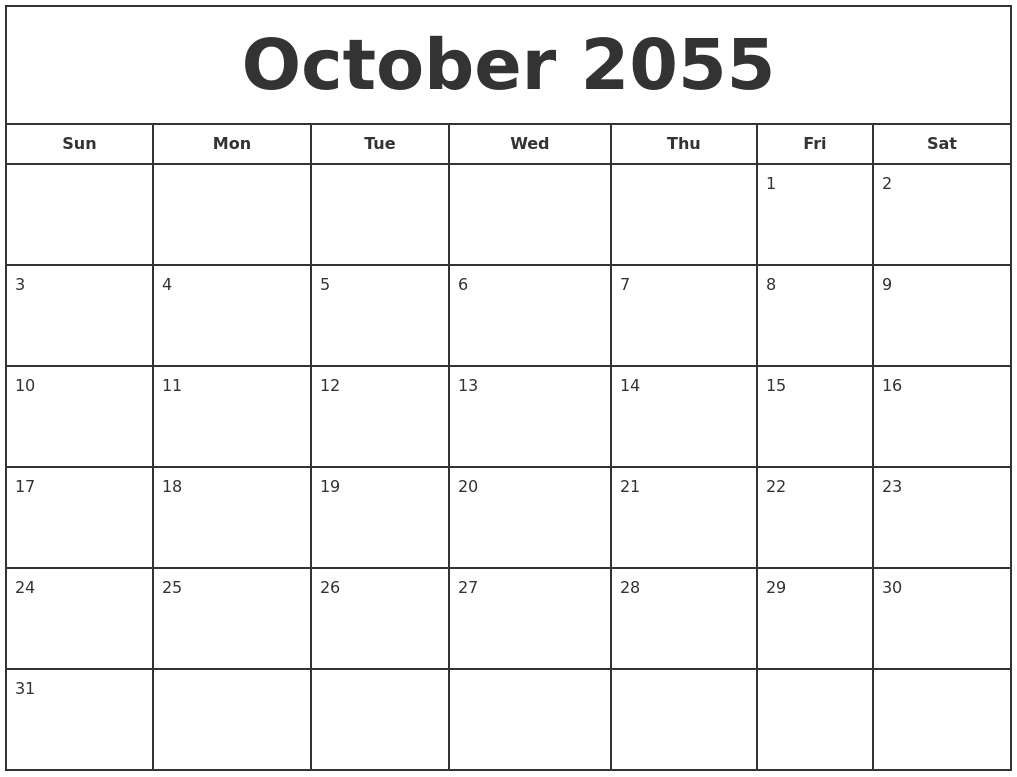 June 2055 Blank Calendar Template