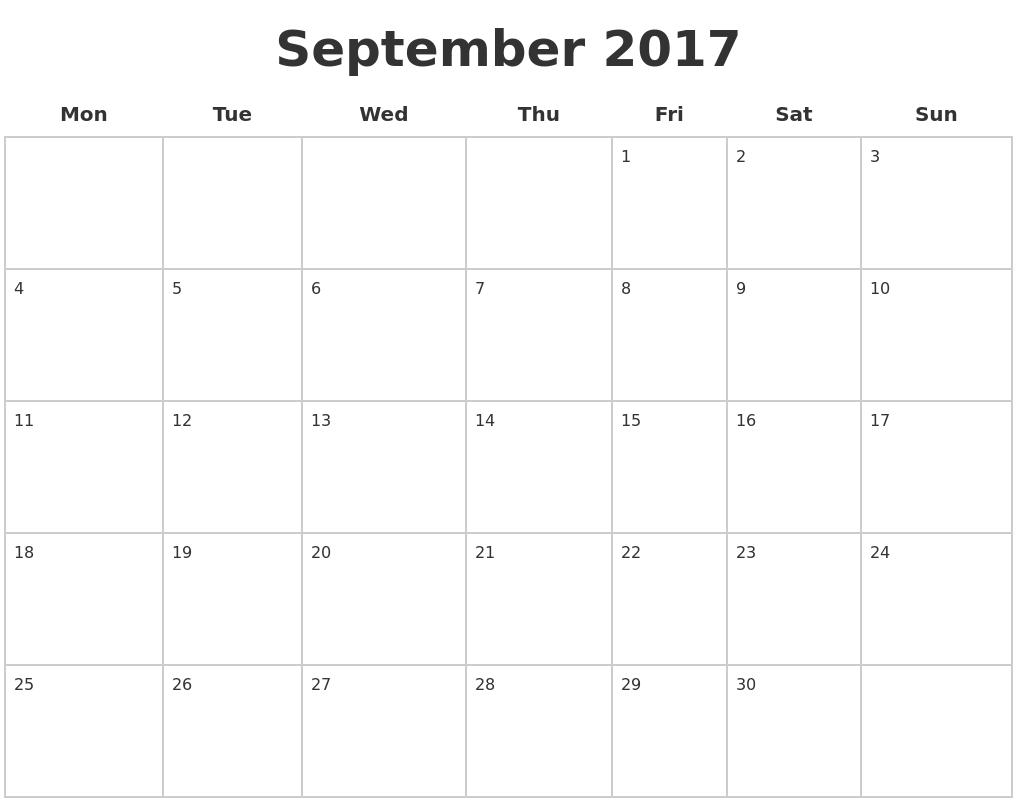 September 2017 Blank Calendar Pages PDF's