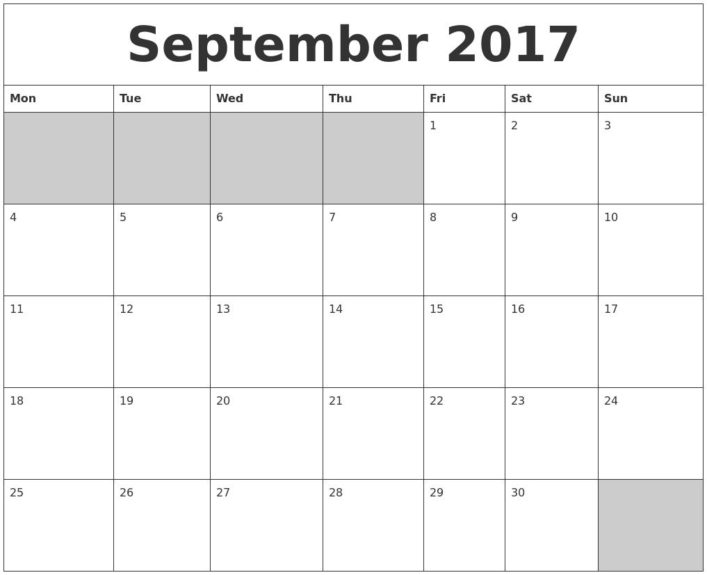 September 2017 Blank Printable Calendar PDF's