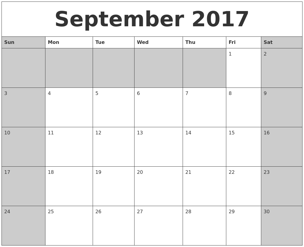 september calendar 2017, september calendar 2017 printable template