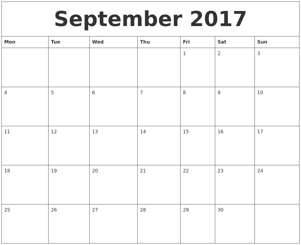 September 2017 Free Monthly Calendar Template