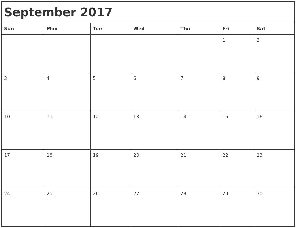 September 2017 Month Calendar
