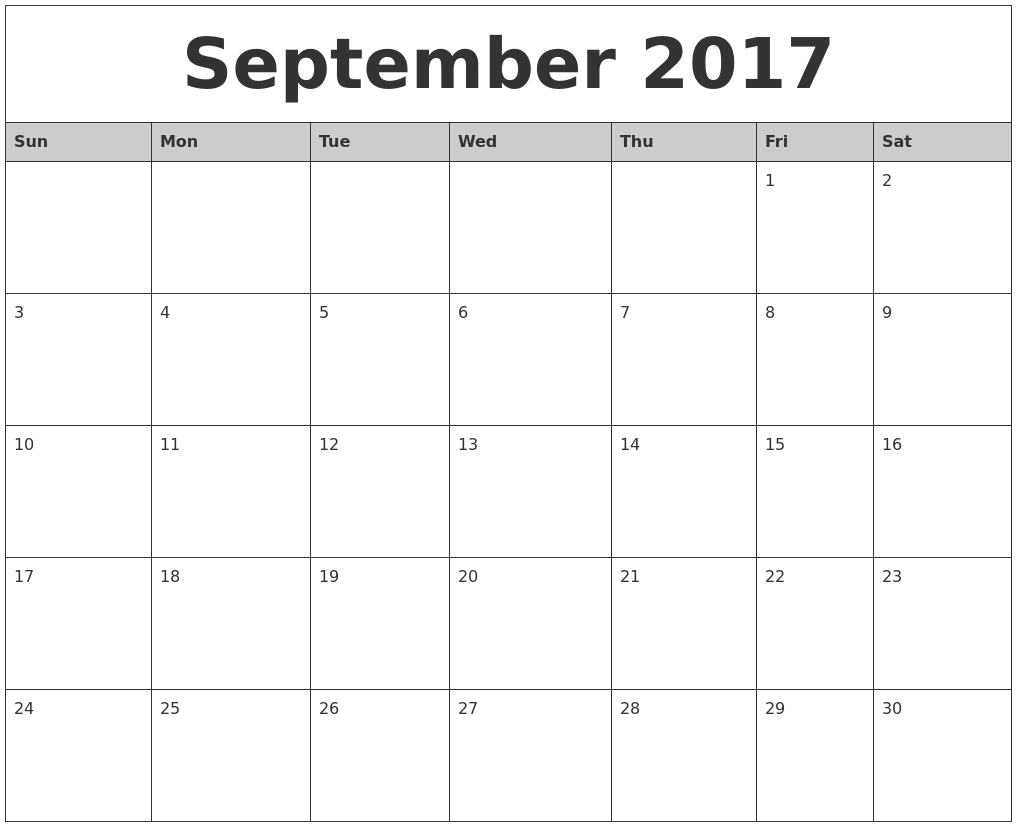 September 2017 Monthly Calendar Printable