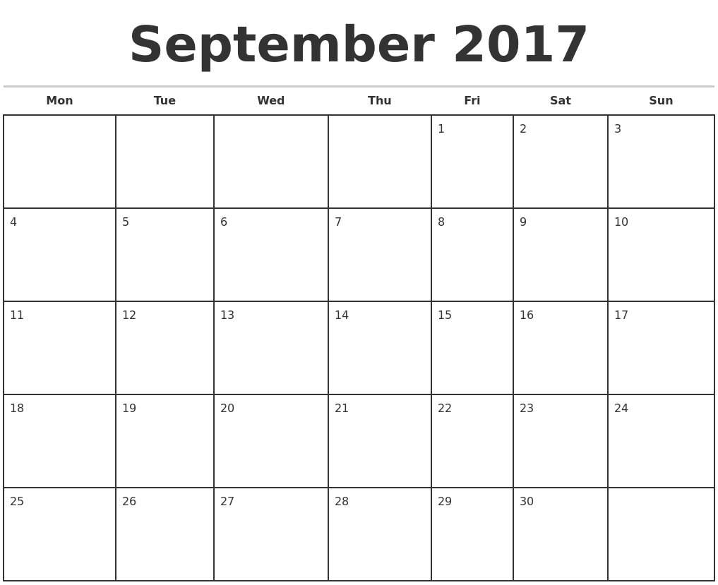 September 2017 Calendar Starting With Monday | …