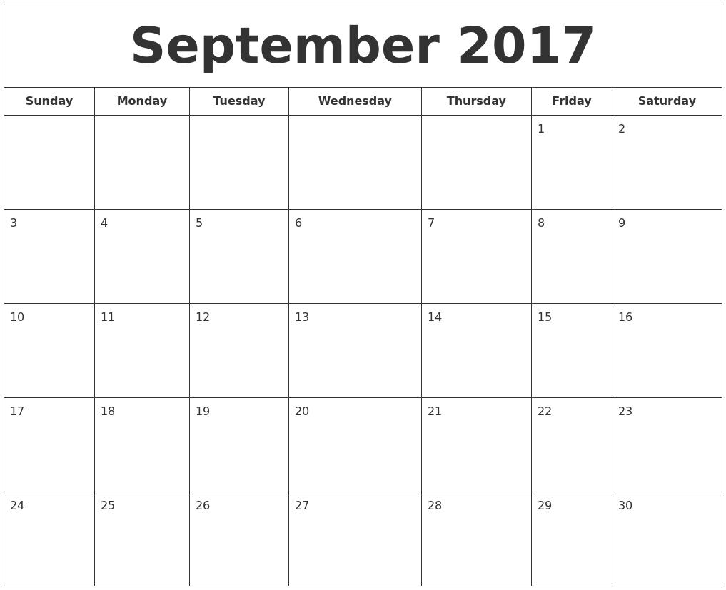 September 2017 Printable Calendar PDF's