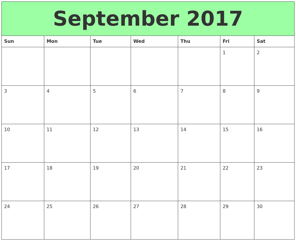 september 2017 printable calendar, september 2017 printable calendar template