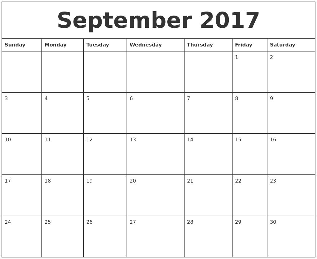 2017 Printable Monthly Calendar – Printable Monthly Calendars