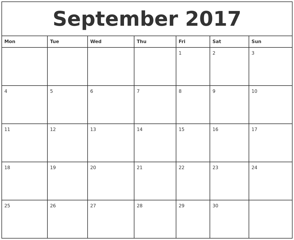September 2017 Printable Monthly Calendar PDF's
